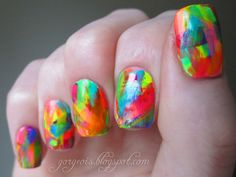 Awesome nail art: Summer Neon Abstract Brush Strokes