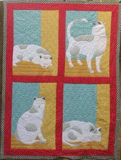 thing cat, window, art quilt, cat quilt, appliqu quilt, quilt idea