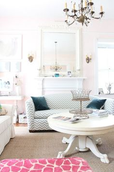 decor, interior, coffee tables, country houses, living rooms, couch, color, pale pink, white