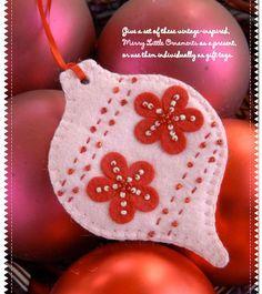 Felt Merry Little Ornaments free PDF Download #diy #crafts #felt #ornaments #christmas #holidays