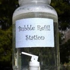 Bubble recipe and refill station for outdoor parties