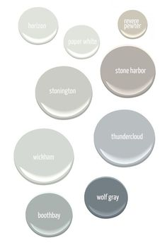 Gray Paint Colors from Benjamin Moore: horizon, paper white, revere pewter, stone harbor, stonington, thundercloud, wickham, wolf gray, booth bay. A Life Well Lived