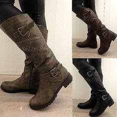 New Womens Knee Boots Slouchy Low Heel Biker Boots Fur Lined Winter