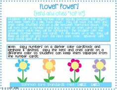 """Flower Power (A Tens and Ones """"War"""" Game)"""