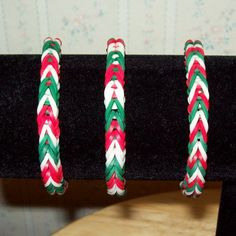 Rainbow Loom Rubber Band Bracelet, Christmas Colors, Fishtail Design, 3-Color Bracelet in your choice of design