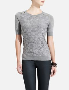 Lace-Front Merino Blend Sweater