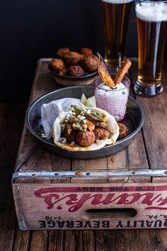 Buffalo Falafel Pitas w-Garlic Blue Cheese Fries + Ranch Style Tzatziki | halfbakedharvest.com @hbharvest