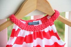 adult size tshirt turned into dress or top, with braided collar - site will take you to diy woven headband too