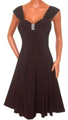 FUNFASH SLIMMING BLACK EMPIRE WAIST COCKTAIL CRUISE DRESS Plus Size Made in USA --- http://www.pinterest.com.yolo.bz/2cy