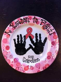 BREAST CANCER PLATE /beautiful! @lisa