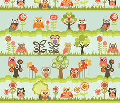 Owls in the garden fabric by valentinaramos on Spoonflower - custom fabric