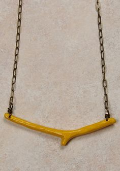 painted twig necklace. yellow!