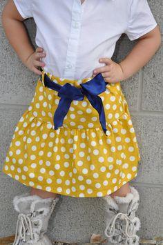 color polkadot, mustard color, navi ribbon, polkadot skirt, ruffl mustard