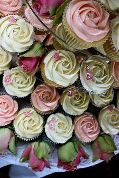 Pink & Ivory Rose Wedding Cupcakes