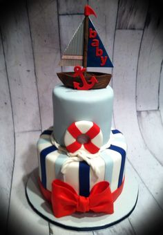 Nautical baby shower cake. I made the boat out of printing on edible paper and making the sails out of that.