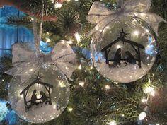 craft, nativ ornament, frosted glass, hobbi, hous, christmas ornaments, stencil, nativity scenes, hen