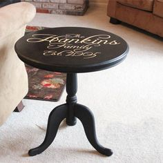Paint dining table and chairs with Rust-Oleum vinyl letters