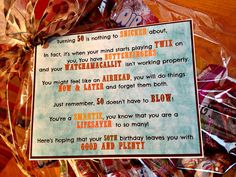 50th Birthday Candy Basket and Poem DIY Candy Basket/Gift Basket
