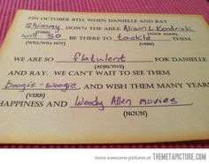 Best wedding response card ever…    UMMM  TOTALLY DOING THIS