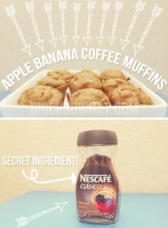 IROCKSOWHAT'S Apple Banana Coffee Muffins - I could take OUT the coffee for Joshua and leave it IN for ME.