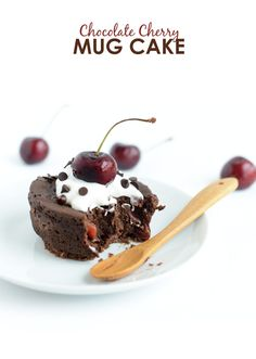 Healthy Chocolate Cherry Mug Cake #GlutenFree | FitFoodieFinds.com
