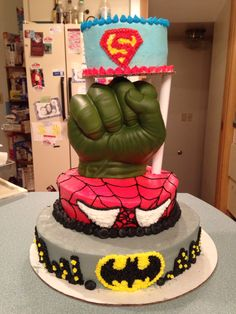 Superhero birthday cake. #superhero #batman #spiderman #superman
