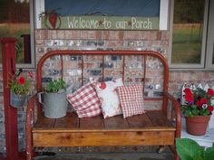 Bench made out of old metal headboard
