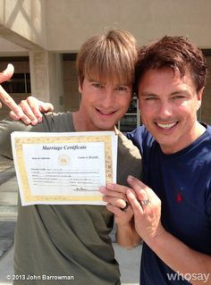 The happy couple with their marriage certificate! John Barrowman Is Officially Married