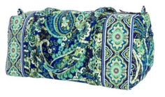 "Small Duffel | Vera Bradley -holds alot and fits perfectly ""under the seat in front of you"""