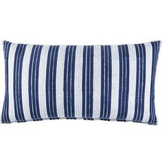 Vintage Stripe Indigo Bolster, $160 John Robshaw Textiles via Timothy Paul Bedding