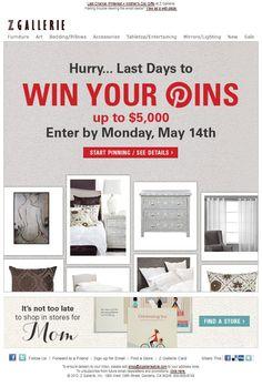Z Gallerie | SL: Last Chance: Pinterest Contest + Mother's Day Gifts    #emailmarketing #design
