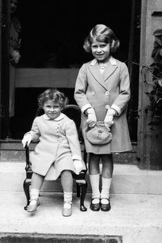 Princess Margaret & Princess Elizabeth - love the little handbag with an E and a crown