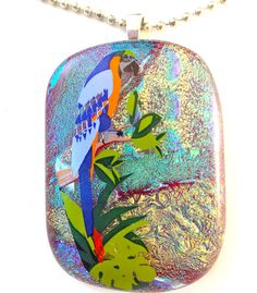 Fused Dichroic Glass Necklace Pendant by Mtbaldyglassworks on Etsy