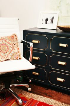 interior, the office, old dressers, cabinet, boy rooms, black gold, office chairs, gold accents, chest of drawers