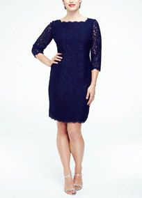 Perfect for any event especially the Mother of the Bride, you will look sensational in this all over lace dress!  This short all over lace dress has a natural bodice and features an ultra-feminine scalloped neckline and back.  Ideal staple dress for your collection, just pair with a vibrant heel and chunky jewelry to finish your look.  Fully lined. Exposed back zip. Imported polyester. Dry clean only. Also available in Missy sizes as Style 041864780.