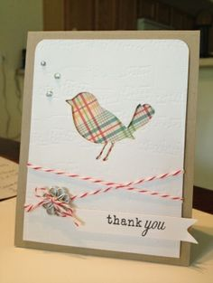 Memory Box Bird die!!  - bird / twine/thank you