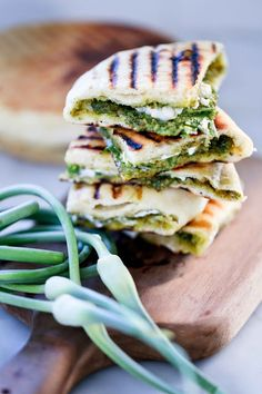 Grilled Stuffed Naan with Garlic Scape Chutney. #food #Indian #naan #sandwiches #lunch