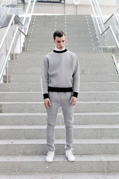 (Xavi Reyes F/W 2014) Another monernist menswear. it seems definately modernist style even the top is casual style. White sneakers, and background theme enhance the monernist look.