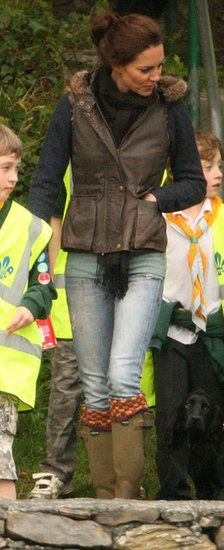 Kate out with the Scouts. Love the vest, checked socks, scarf and ripped jeans. artists, duchess of cambridge, check sock, camping, english country, kate middleton, rip jean, boot socks, boots