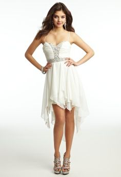 Prom Dresses 2013 - Chiffon Hanky Hem Party Dress with Tie Back from Camille La Vie and Group USA