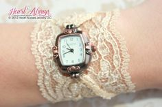 Champagne Lace Watch with Antique Copper by heartalwaysjewelry, $32.99