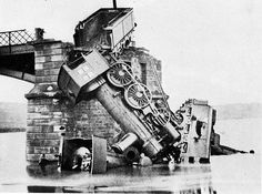 Train wreck at Montparnasse in Paris, France, 1895: