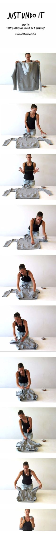 How To Transform Your Hoodie into a Backpack,