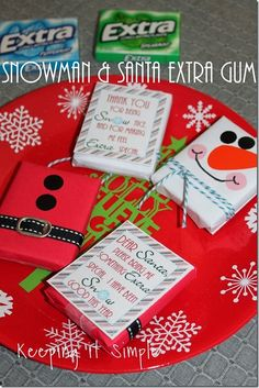 Keeping it Simple: Santa and Teacher Gifts-Snowman and Santa Extra Gum with Free Printable.