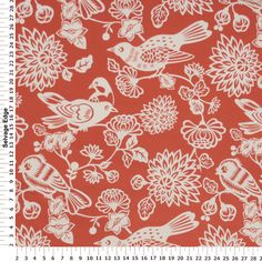 Outdoor & More Fabric - White Birds on Burnt Orange Outdoor Polyester Fabric