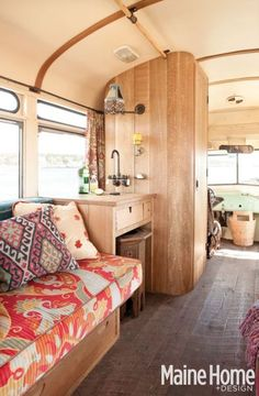 remodeled bus. I don't have either the cash or the skilz to pull something like this off but it's a dream of mine to have a super amazing home on wheels. Sure there's RVs but the interiors are generally so bleh.