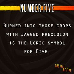 """Fall of Five; Number Five. """"Five is the last piece of the puzzle. But Five is also the biggest mystery of all."""""""