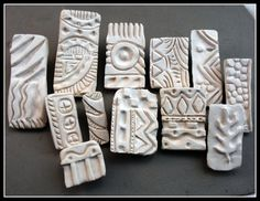 Bisque Patterned Stamps (Qty. 12) for pottery, polymer, PMC, play doh, fondant and more....0082