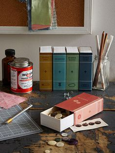 These delightful little volumes (inspired by Heather Mann of dollarstorecrafts.com) throw the book at desktop clutter. #countryliving #crafts #DIY