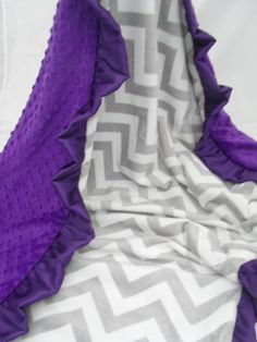 Personalized Grey Chevron and Purple  Minky baby Blanket on Etsy, $26.50